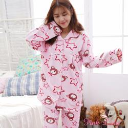 PINK LADY 星熊滿天海島絨排扣長袖成套睡衣 (6603-1)