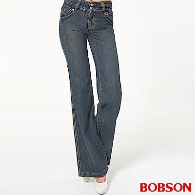 BOBSON 女款小尻革命寬版腰頭大喇叭牛仔褲9041-52