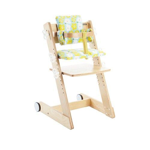 大將作 kid2youth - Qmomo 兒童成長餐椅(附輪) 套組-白樺木-小花椅墊