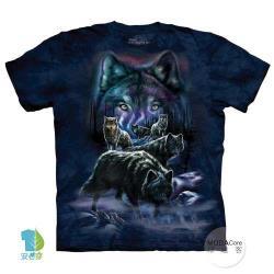 摩達客 (預購)(大尺碼3XL)美國進口The Mountain 夜狼群 純棉環保藝術中性短袖T恤