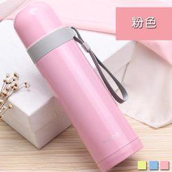 PUSH 不銹鋼雙層無尾真空保溫瓶保溫杯粉色500ml