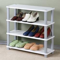 【Homelike】 簡約四層開放式鞋架(胡桃色)