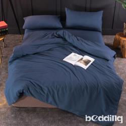 BEDDING-日式簡約純色系加大雙人薄式床包枕套三件組-軍藍色