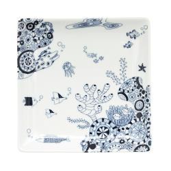 Natural69 波佐見燒 CocoMarine系列 方形淺盤 17cm 海之中 日本製