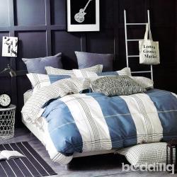 BEDDING-專櫃純棉5尺雙人薄式床包三件組-閒趣時光-藍