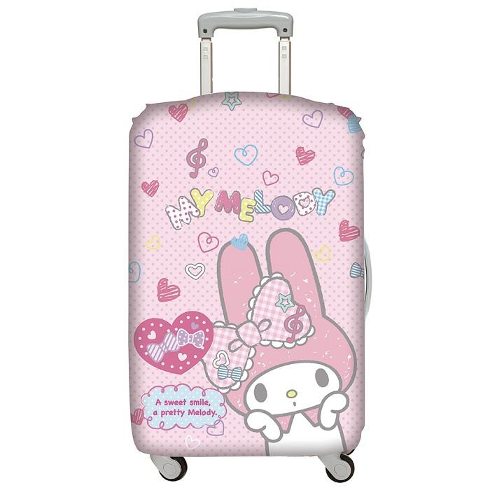 LOQI行李箱外套【三麗鷗美樂蒂 粉紅】行李箱保護套、防刮、高彈力