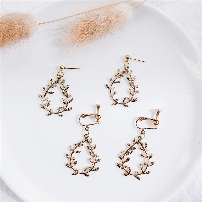 新款 創意樹葉造型耳環 韓系女生甜美氣質ins耳針耳飾 無耳洞彈簧耳夾 飾品 女配飾 生日禮物