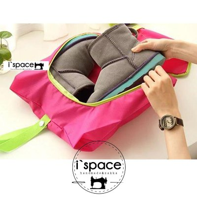 『i`space手作.雜貨』☆創意旅行防水防塵鞋收納包/可折叠鞋子收纳袋M尺寸(桃紅,藍,黃綠)3色分售