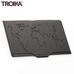 德國TROIKA防RFID夾名片夾 防NFC信用卡夾防感應卡夾 防側錄輕薄隨身卡匣CDC15-02/BK(黑色,世界地圖)