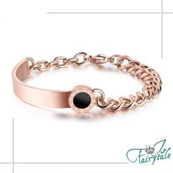 【伊飾童話】羅馬黑圓幣*半圈環玫瑰金粗手鍊