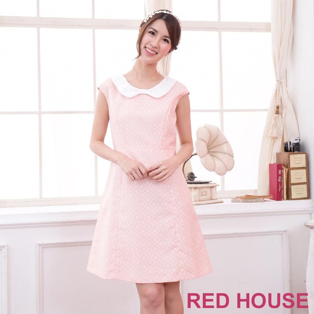 【RED HOUSE 蕾赫斯】緹花無袖蝴蝶結領洋裝(甜美粉)