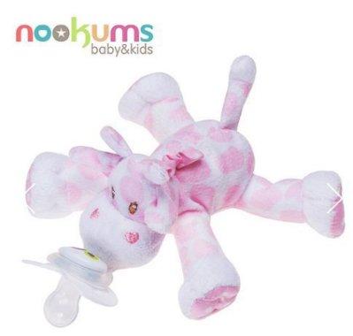 【魔法世界】美國 nookums 寶寶可愛造型安撫奶嘴/玩偶-粉紅長頸鹿【附贈母乳實感奶嘴,適用於90%以上奶嘴】
