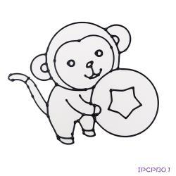 【愛玩色創意館】 MIT兒童無毒彩繪玻璃貼- 大張圖卡 - 猴子 ipcpb01-台灣製