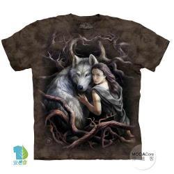 摩達客 (預購)(大尺碼3XL)美國進口The Mountain 靈狼女神 純棉環保藝術中性短袖T恤