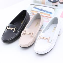 ZUCCA【z6617】金屬結扣環平底鞋-黑色/駝色/白色