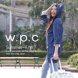 w.p.c.袖子可折2way時尚雨衣/風衣(R9001)-深藍點點