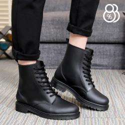 【88%】雨鞋-英式雨鞋 綁帶馬丁雨靴 雨天熱銷款 輕便百搭防水 低粗跟雨鞋 男款