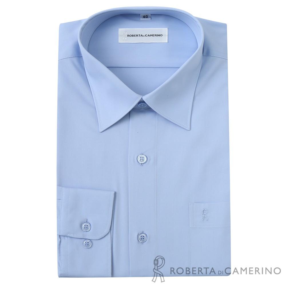 【ROBERTA 諾貝達】台灣製 吸濕速乾 素色長袖襯衫(天藍)