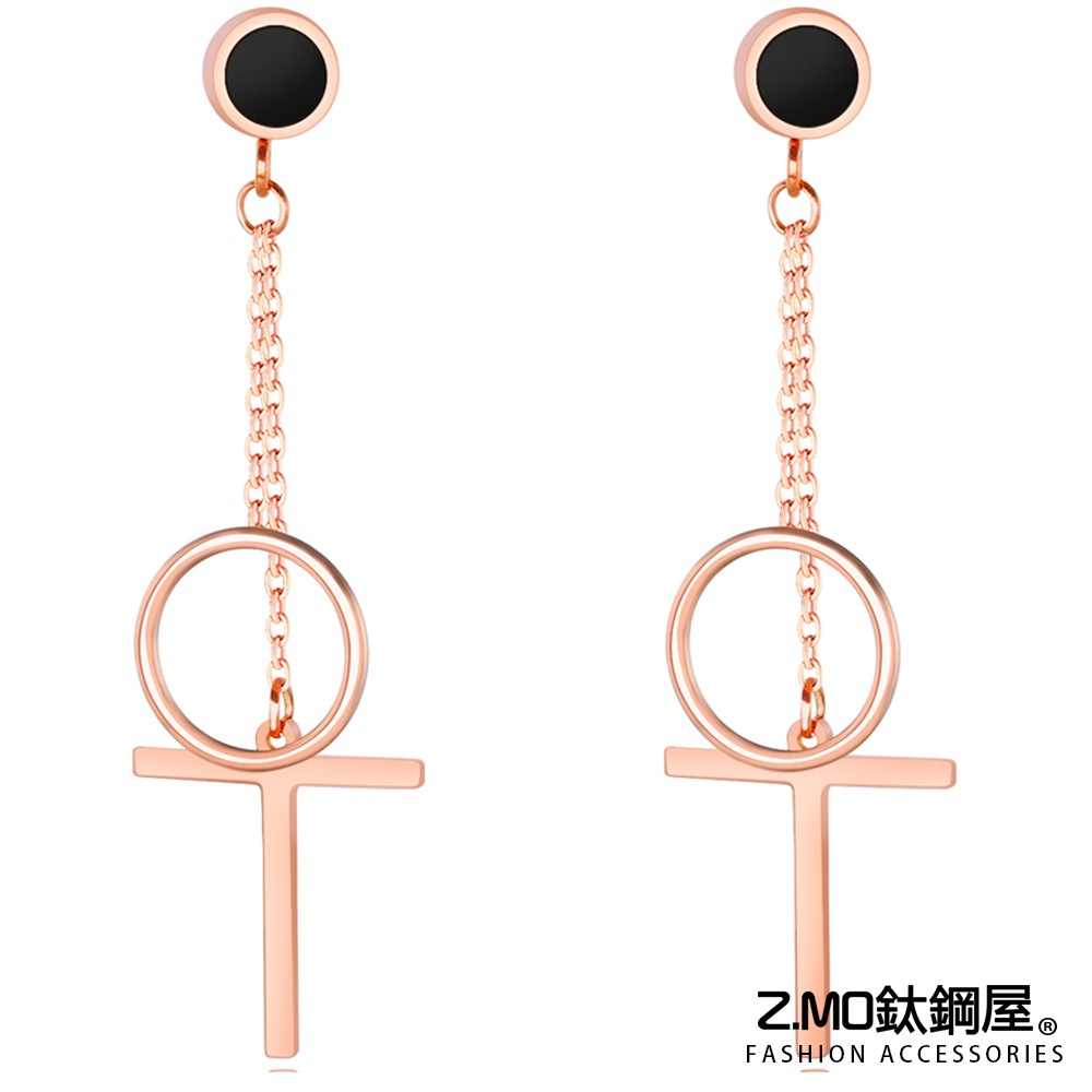 Z.MO鈦鋼屋 女性耳環 白鋼耳環 幾何耳環 個性女孩單品 韓系風格 墜飾耳飾 耳墜 一對價【EKS410】