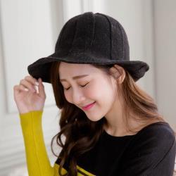 imaco 時尚西瓜紋羊毛針織漁夫帽(黑)