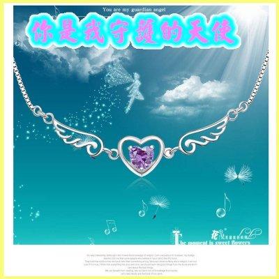 現貨❤夢天使之戀❤贈禮盒日韓首飾 水晶 飾品 正韓 女式銀飾品 吊墜 項鍊 生日 情人節 送禮