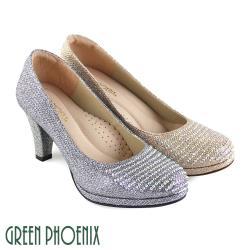 GREEN PHOENIX 壓克力水鑽金蔥全真皮高跟鞋U16-20102