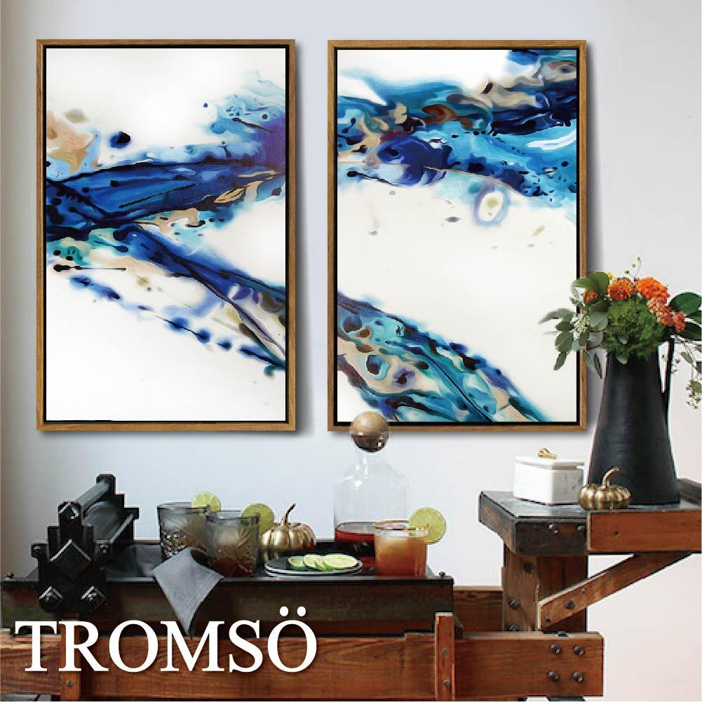TROMSO北歐風尚板畫有框畫-水波浪潮WA040-40X60 /二幅一組 簡約藝術擺飾木框大樹小屋【H0313096】