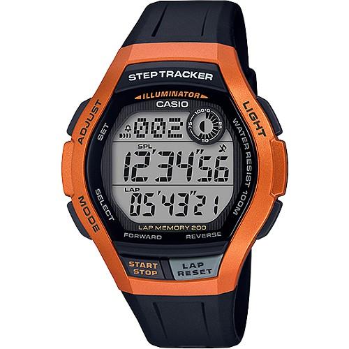 【CASIO】卡西歐手錶 WS-2000H-4A Step Tracker計步數位男錶-橘紅X黑_原廠公司貨
