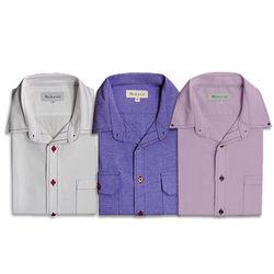 【MURANO】開領休閒牛津長袖襯杉 3件組 白 / 中藍 / 粉紫