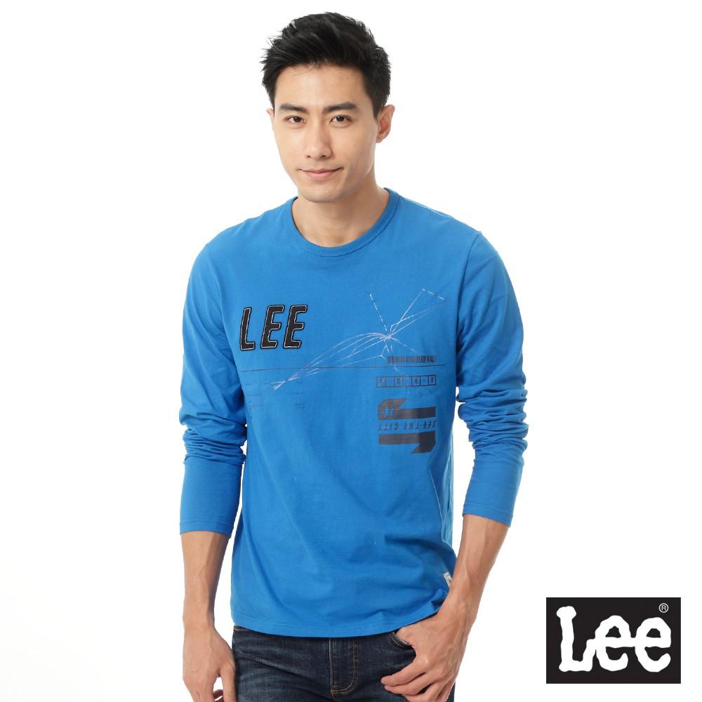 Lee 長袖T恤 拼接字樣幾何印刷 男 亮藍 Mainline