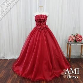 カラードレス ワインレッド 5号7号9号11号13号 小花 プリンセスラインドレス 結婚式2288