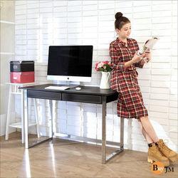 BuyJM 馬鞍皮電鍍粗腳雙抽大書桌/電腦桌/書桌