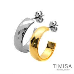 【TiMISA】格緻真愛-寬版(雙色) 純鈦耳環一對