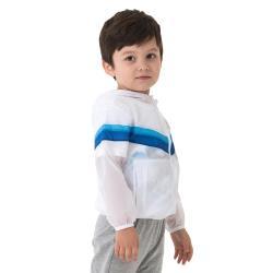 【聖伯納 St.Bonalt】撞色輕透防曬連帽外套 - 童款 9007 (白色/淺灰螢光橙/淺灰亮黃)