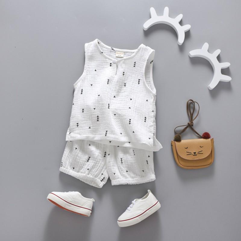 兒童可愛明星樹印花無袖男孩女孩背心和短褲【IU貝嬰屋】