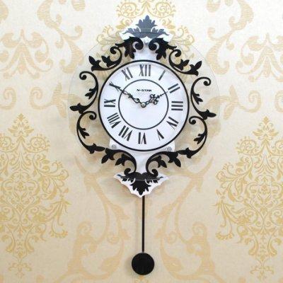 現代裝飾歐式羅馬靜音搖擺挂鐘時尚創意鐘表客廳臥室挂表個性時鐘