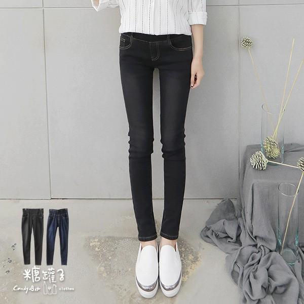 糖罐子寬版褲頭刷色縮腰窄管褲(S-2L)《現貨》【KK5689】