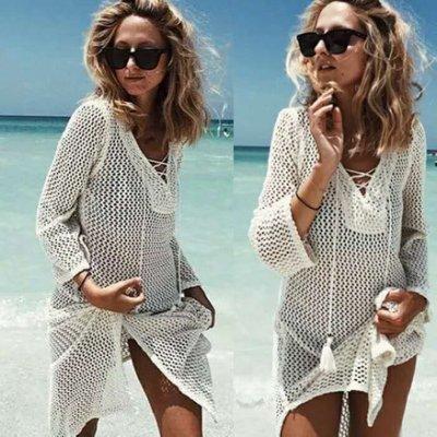 Let's Sea 浪漫風  時尚品味海邊海灘罩衫防曬外搭泳裝比基尼 長袖泳衣 防曬衣