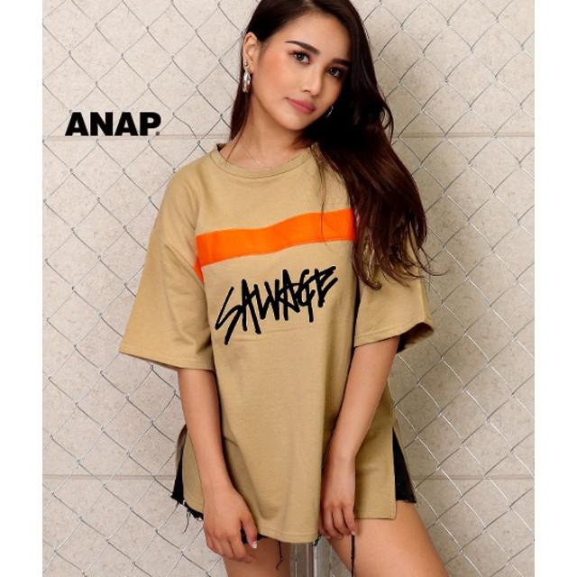 【セール開催中】ANAP(アナップ)ネオンテーププリント裏毛BIGトップス