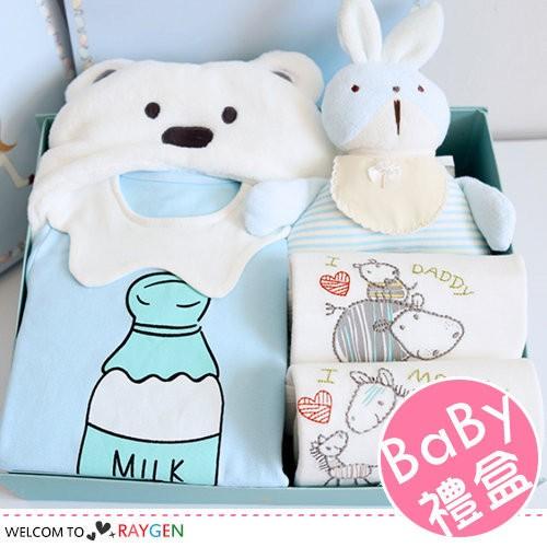 (限宅配)秋冬男寶寶動物包巾/哈衣/定型枕/襪子 禮盒組 彌月禮 預購