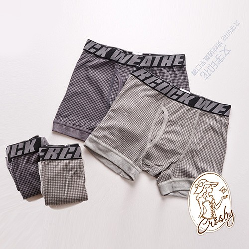 1662419(M-XL)文字印花-千鳥紋 男性透氣平口褲