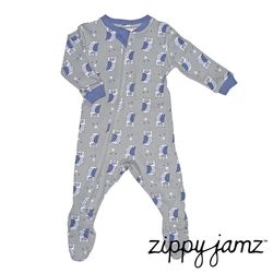 【ZippyJamz】有機棉寶寶拉鍊連身衣-可愛貓頭鷹