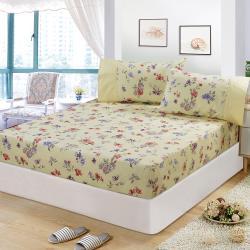 FITNESS 精梳棉加大床包+枕套三件組-穠芳(黃)