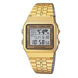 【CASIO】 數字復刻地圖液晶顯示腕錶-金X金框 (A-500WGA-9)