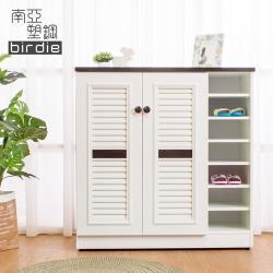 Birdie南亞塑鋼-3.3尺二門右開放塑鋼百葉鞋櫃-胡桃色+白色