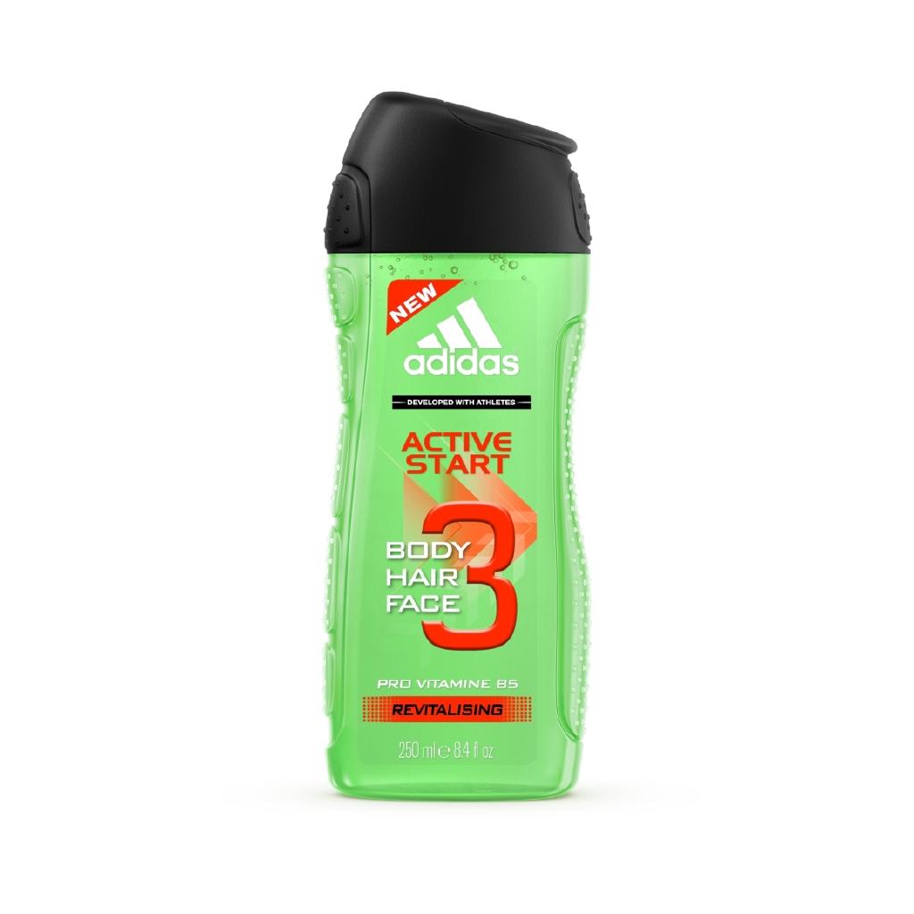 愛迪達男用三效能量潔顏洗髮沐浴露250ml