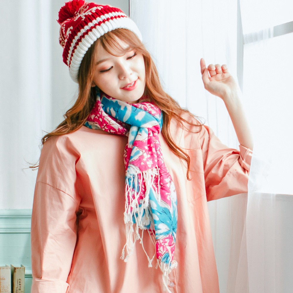 【Wonderland】蝴蝶飛舞100%純羊毛披肩(桃紅)