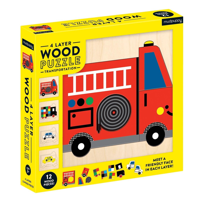美國 mudpuppy - 4層木質拼圖-交通工具-36片