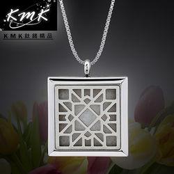 KMK鈦鍺精品【復古窗花】簍空香水/精油-項鍊