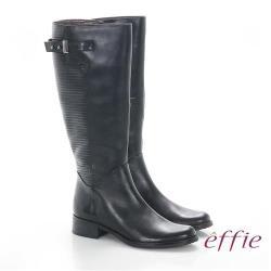 effie 魅力時尚 真皮立體壓紋低跟直筒長靴- 黑